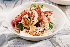 Lime, coriander and coconut prawns with coconut rice