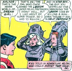 Dream Girl and Star Boy return to the Legion. From Adventure #351 (1966). Art by Curt Swan.
