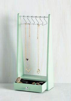 Organization Worth Applauding Jewelry Stand. You deserve a blue ribbon for how beautifully you arrange your most cherished accessories on this mint green jewelry rack! #mint #modcloth