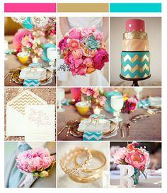 Para uma decoração moderna, romântica e divertida, invista na combinação do dourado com azul e rosa.