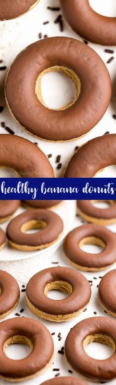 {HEALTHY!} Banana Donuts with Chocolate Glaze -- only 41 calories! Baked, not fried! So easy to make & they taste like cupcakes for breakfast! I'm OBSESSED with these! #healthy #recipe #glutenfree #vegan #cleaneating