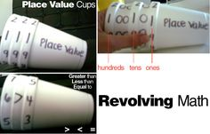 revolving math cups! Styrofoam cups are great for place value and greater than, less than, or equal to practice.      Grab three styrofoam cups and write numbers 1-9 around the outer rim (opening facing left). Write one zero after each numeral for your tens cup and two following the numerals on your hundreds cup. Then, stack them! Kids can twist and turn the cups to create different numbers.