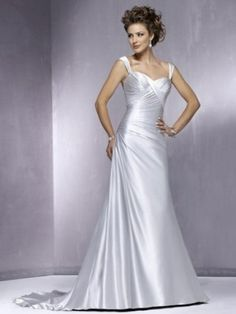 Empire Square Court Trains Sleeveless Satin Wedding Dresses For Brides