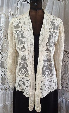 Stunning! Antiqeue Ladies' Jacket French Normandy Lace ...Phenomenal!