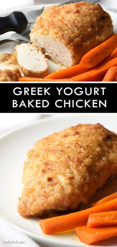 This Baked Greek Yogurt Chicken is creamy, a little crunchy, full of flavor, and super easy. Greek Yogurt Banana Bread, Greek Yogurt Chicken, Greek Yogurt Recipes, Baked Chicken Breast, Breaded Chicken, Chicken Breasts, Chicken Tenders, Fried Chicken, Weight Watcher Banana Bread