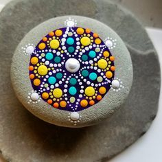 Painted Rock ~ Rock Art ~ Colorful Magnet ~ Flower~ Mandala ~ Hand Painted Beach Stone ~ Painted Rocks for Home Decor ~ Dot Art ~ Gift by P4MirandaPitrone on Etsy