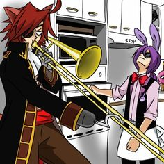 "(I'm playing as Bonnie can someone be foxy?) i put my head back wishing it could explode ""foxy shut up I swear if you play one more note I'll rip your hook off of your hand"" I think again and then my thoughts get disrupted from a loud beep ""stage time you idiot lets go.now"" I grab the trombone from his grasp and throw it on the ground dragging him with me"
