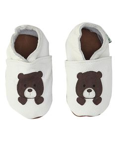 Love this Augusta Baby Ivory Bear Leather Booties by Augusta Baby on #zulily! #zulilyfinds