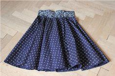 Modrotisková sukně chrpy