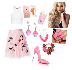 """""""Untitled #102"""" by kristinakotenko on Polyvore featuring мода, P.A.R.O.S.H., Topshop, Christian Louboutin, Forever 21, women's clothing, women, female, woman и misses"""