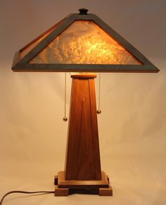 Quilted Maple Veneer Lamp Shade with Arts and Craft Cherry Base