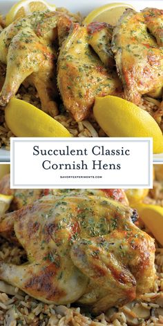 Classic Cornish Hens A Delicious Cornish Hen Recipe - Classic Cornish Hens are perfect for holiday parties! Basted with a zesty butter sauce and ready in under 1 hour. Your family will LOVE them! Cornish Hen Recipes Oven, Cornish Hens Crockpot, Cornish Hen Recipe Easy, Baked Cornish Hens, Stuffed Cornish Hens, Cornish Game Hen, Crockpot Recipes, Chicken Recipes, Cooking Recipes