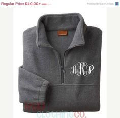 LOVE LOVE LOVE!! Monogrammed Quarter Zip Pullover, Monogrammed Pullover Jacket.  Jacket Color: charcoal, Size: small, Monogram Color: yellow