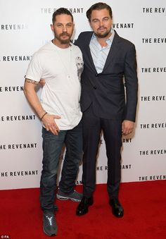 Here come the boys: Tom Hardy an Leonardo DiCaprio attend the BAFTA screening of The Reven...