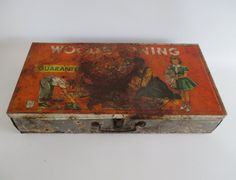 Metal Woodworking Box Vintage Rusty Funky Family by HobbitHouse