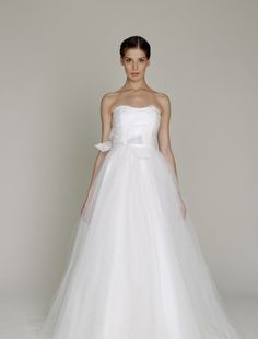 Strapless A-Line Wedding Dress  with Natural Waist in Tulle.   Bridal Gown Style Number:32583320