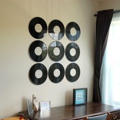 Cool Wall Art modern look with hints of color. vinyl record decor. | family