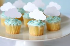 Blue baby boy shower cupcakes with cloud party cut outs Baby Shower Cakes, Fiesta Baby Shower, Baby Boy Shower, Cloud Party, Baby Sprinkle, Sprinkle Shower, Sprinkle Cupcakes, Cute Baby Shower Ideas, Baby Shower Themes