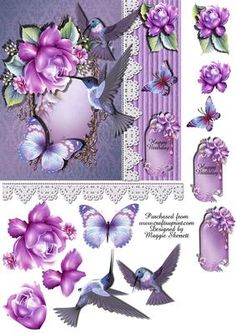 - Colour co-ordinated birds and butterflies adorn the front of these quick cards. The sheet includes a 6 inch base, and all . Step Cards, Quick Cards, Decoupage Vintage, Decoupage Paper, Purple Roses Images, Happy Birthday Elvis, Decoupage Printables, D Flowers, 3d Sheets