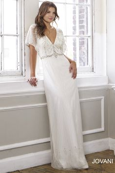 Jovani 2016 Beaded Flutter Sleeve Wedding Dress JB91246