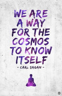 We are a way for the cosmos to know itself - Carl Sagan True Quotes, Great Quotes, Quotes To Live By, Inspirational Quotes, Change Quotes, Carl Sagan, Science Quotes, Spiritual Awakening, Picture Quotes