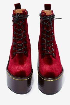 Jeffrey Campbell Commando Velvet Boot - Burgundy - Lace-Up Bootie Boots, Shoe Boots, Velvet Shoes, Jeffrey Campbell, Nasty Gal, Lace Up Boots, Combat Boots, High Heels, Burgundy