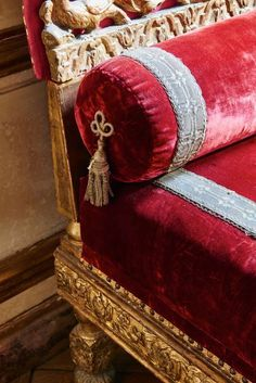 classical bench with gold leaf and cherry red velvet upholstery