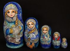 Exquisite 5 pcs Russian Nesting Doll THE SNOWMAIDEN