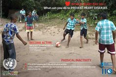 Today is World Heart Day. Do you know that a sedentary life can increase chances of heart disease?     70% of Surinamese don't do any physical activity.   BECOME ACTIVE! Get at least 30 min of exercise every day to prevent heart diseases
