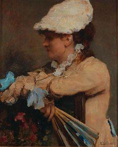 Portrait de Jeune Femme a L'Eventail (Portrait of a Young Woman with a Fan) - Norbert Goeneutte French 1854-1894