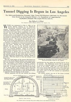September 6, 1924 Article About the Pacific Electric Subway from Electric Railway Journal