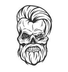 Charismatic skull hipster Vintage style vector image on VectorStock Line Art Tattoos, Skull Tattoos, Skull Logo, Skull Art, Stock Art, Koch Tattoo, Crane, Stencil, Skull Illustration