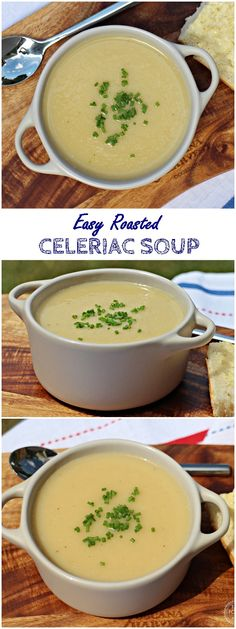 Easy Roasted Celeriac Soup - 1 kg Celeriac, diced 1 Garlic bulb 3 tbsp Olive oil 1.45 ltrs Vegetable stock (made with 2 stock cubes) 1 tbsp Lemon juice (or to taste) Salt and freshly ground pepper Chopped chives to garnish