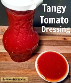 This recipe came from my husband's love of a tangy tomato salad dressing at a local restaurant. Theirs has oil, but this one does not. He loves this stuff!