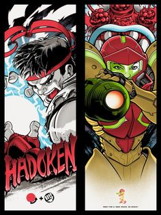 """""""Ryu"""" & """"Samus"""" – Old School Video Games Show – Gallery1988  Both are 9""""x24"""", 6-color screenprints, limited-editions of 75, signed and numbered."""
