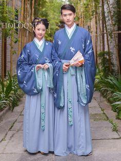 Blue Cross-over collar Lovers Men Hanfu Clothing - US $423.00