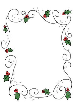 rectangular holly border with swirls Christmas Border, Christmas Frames, Christmas Paper, Christmas Colors, Winter Christmas, Christmas Holidays, Christmas Decorations, Xmas, Christmas Graphics