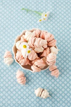 Rose Water Meringue Kisses with Chocolate