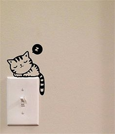 Sleeping Cat Light Switch Cute Vinyl Wall Decal por imprinteddecals Sleeping Cat Light Switch Cute Vinyl Wall Decal por imprinteddecals The post Sleeping Cat Light Switch Cute Vinyl Wall Decal por imprinteddecals appeared first on Pink Unicorn. Wall Painting Decor, Diy Wall Decor, Home Decor, Vinyl Decor, Wall Art, Cat Light, Deco Originale, Wall Drawing, Wall Decal Sticker