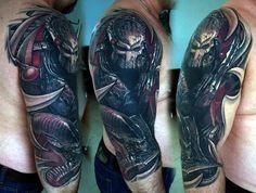 50 Predator Tattoo Designs For Men - Sci-Fi Ink Ideas Alien Tattoo, Werewolf Tattoo, Tattoos For Kids, Great Tattoos, Body Art Tattoos, Girl Tattoos, Cross Tattoos, Tattoo Sleeve Designs, Tattoo Designs Men