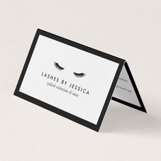 Coordinates with the Glam Eyelashes Classic Black and White Business Card Template by 1201AM. Black eyelashes along with your name or business name are set on a classic black-bordered folded white card with lash extensions aftercare instructions on the inside panels. Created for lash salons, lash technicians and lash extension experts