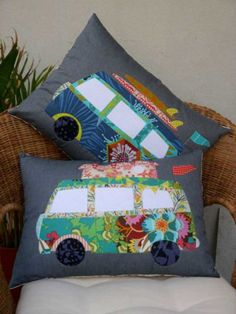 The pattern includes layouts & instructions for both cushions. A pop top Camper & a Sur Campier. Patchwork Blanket, Crazy Patchwork, Patchwork Patterns, Patchwork Bags, Sewing Patterns Free, Design Patterns, Design Ideas, Pop Top Camper, Quilting For Beginners