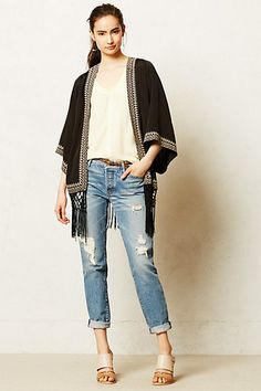 Fringed Kimono Cardigan #anthrofav #greigedesign