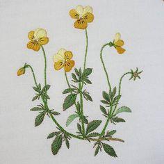 Viola 아직 세탁 전이라 먹지 자국이 보이네 ^.* #프랑스자수 #자수타그램 #자수 #비올라 #꽃 #가리개커튼 #아오키카즈코 #정원꽃자수 #embroidery #sewing #needlework #handmade #flower #curtain