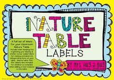 Does your dusty old Nature Table need a bit of a makeover? Then this is the pack for you!     Encourage your children to reconnect with the environment by bringing a slice of Nature into your classroom. This pack contains 15 pages of bright eye catching signs and labels to jazz up your classroom Nature Table.