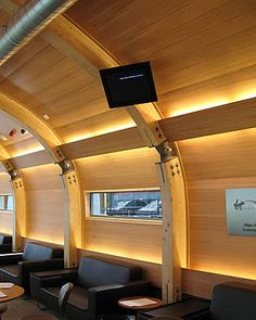An internal view of the first class lounge at Liverpool Street train station