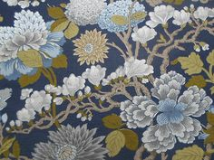 GP & J Baker Fabric ~ Magnolia Indigo.  Possible fabric for cushions for b&w room / upholstery?