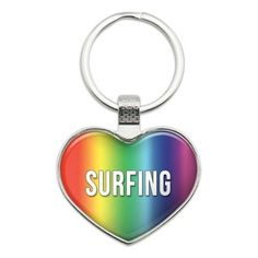 I Love Surfing Heart Metal Key Chain, Men's, Heart Color