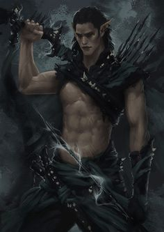 """Dark Elf Warrior - Concept 3 by *Arsinoes From Amelia Hutchins book. """"Fighting Destiny"""" is Available on Amazon"""
