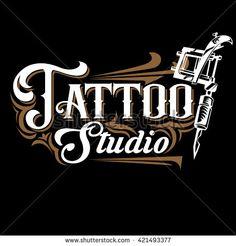 Vector tattoo studio logo templates on black background. Cool retro styled vector emblem. Tattoo studio sign.
